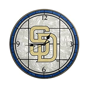 MLB San Diego Padres 12-Inch Art Glass Clock by The Memory Company