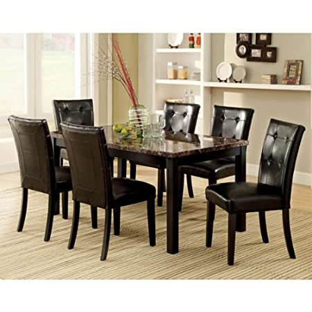 Boulder Black Finish Faux Marble Table Top 5-Piece Dining Set
