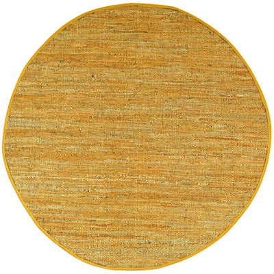 Matador Leather Chindi Round Rug, Gold, 6 by 6-Feet