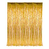 2 Set of Metallic Tinsel Foil Fringe Curtains for Party Photo Backdrop Wedding Decor (Gold)