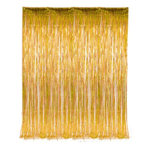 3' x 8' Gold Tinsel Foil Fringe Door Window Curtain Party Decoration (2 per order)