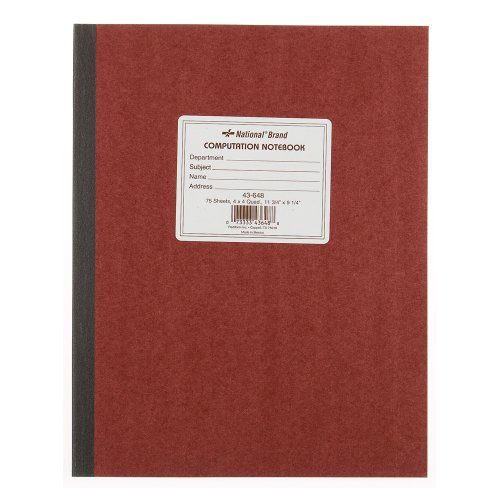 51qRbao18NL. SL500  National Brand Computation Notebook, 4 X 4 Quad, Brown, Green Paper, 11.75 x 9.25 Inches, 75 Sheets (43648)