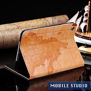 ●iPad mini レトロ 地図柄 PUレザー スタンド ケース 《全4色》 ライトブラウン(うす茶色) [MOBILE STUDIO]