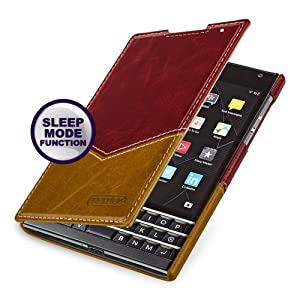 Tetded® Blackberry Passport Hand Crafted Slim Profile Genuine Cowhide Leather Case, Sleep / Wake Sensor (Burgundy / Toffee)Customer review and more information
