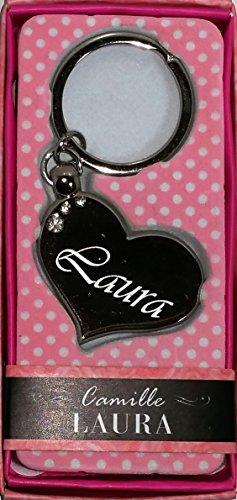 """LAURA Namens Herz Silber Metall Schlüsselanhänger mit Gravur und Swarovski-Kristall, in Geschenkverpackung, benannt. """"LAURA"""" von Sterling Effectz"""
