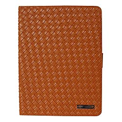 HOKO Weaver Series Leather Flip Cover Book Case with magnetic closure and Card Slot for Apple Ipad Air (Golden Brown)