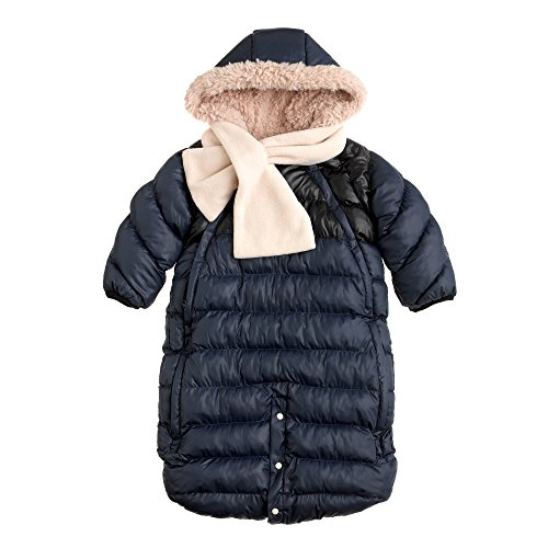 7AM Enfant Doudoune One Piece Infant Snowsuit Bunting, Midnight Blue/Black, Medium