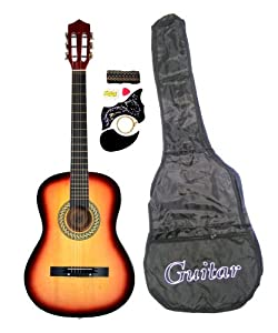 "38"" SUNBURST Acoustic Guitar Starter Package, Guitar, Gig Bag, Strap, Pick & DirectlyCheap(TM) Translucent Blue Medium Guitar Pick by DirectlyCheap"