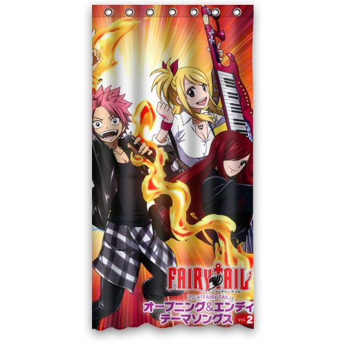 "Japanese Famous Cartoon Anime Fairy Tails Shower Curtain Standard Size 36""(W) X 72""(H) front-195585"