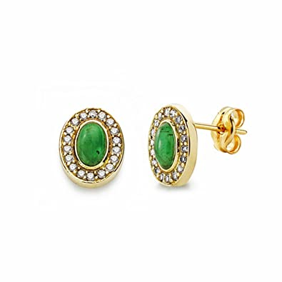18k gold earrings green stone 9mm. zircons [AA2342]