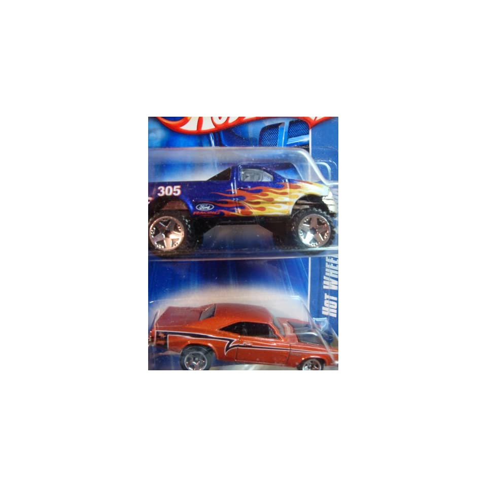 Hot Wheels Ford F 150 4x4 With Flames   69 Dodge Charger Open Hood 5