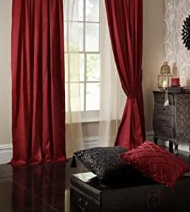 Superb Quality 46x54 Red Faux Silk Pencil Pleat Fully Lined Curtains *tur* from Curtains