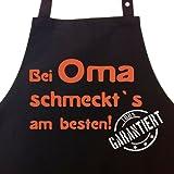 Bei OMA schmeckt`s am besten! Garantiert! - Kochschürze, Latzschürze mit verstellbarem Nackenband und Seitentasche - Die Geschenkidee!
