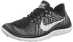 Nike Men\'s Free 4.0 Flyknit Black/White/Wolf Grey/Drk Grey Running Shoe 10 Men US