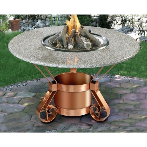 California Outdoor Concepts Tuscany Dining Height Fire Pit Table With Pebble Granite Top And Solid Copper Base