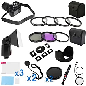 BIRUGEAR 15 Items Value 58mm Lens Accessories Bundle kit for Canon Digital SLR EOS Rebel XS XT XTI XSI T1I T2i T3i T3 T1 40D 50D 60D 60Da 7D 5D Mark III(with 18-55mm, 75-300mm, 50mm 1.4, 55-200mm Lenses)