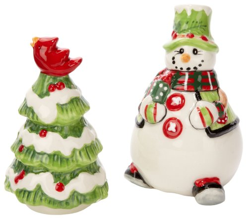 Fitz And Floyd Holly Hat Snowman Salt And Pepper Shaker Set