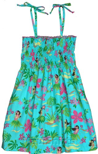 Rjc Girl'S Hula Girl Fun Hawaiian Smocked Sundress In Teal - 5 front-1073943