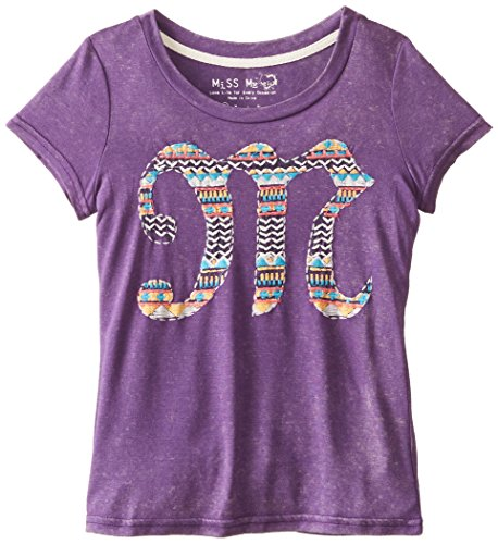 Miss Me Big Girls' Printed M Short Sleeve Tee, Purple, X-Large front-269910