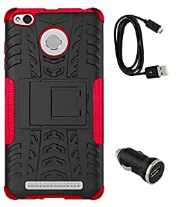 TBZ Hard Grip Rubberized Kickstand Back Cover Case for Xiaomi Redmi 3S with Car Charger and Data Cable -Red