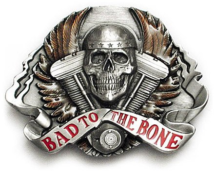 BAD TO THE BONE Belt Buckle Rogue Biker Skull Wings