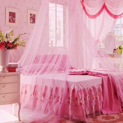 Icibgoods Dome Bed Canopy Netting Princess Mosquito Net for Babies and Adults Home (Pink) - 1