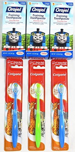 Orajel Toddler Training Toothpaste, Thomas & Friends, Tooty Fruity Flavor, 1.5 Oz (Pack of 3) Plus Bonus 3 Colgate Toothbrushes - 1