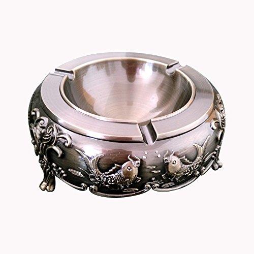Gorgeous Metal Retro Ashtray Cigarette Cigar Jar Ash Holder with Vivid Engraving Carp Shape( Bronze )