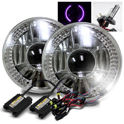 """6000K Pure White H4-2 Low Beam Xenon/High Beam Halogen Slim Hid/7"""" Round 6014/6015/6024 Chrome Projector Headlights With Purple Led Ring"""