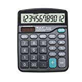 LUCKYZ 12 Digit Large Display Dual Power Solar Desktop Business Calculator, Black