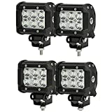 """SHANREN 4Pcs 4"""" 18W CREE LED Work Light bar Flood beam 60 degree waterproof for Off-road Truck Car ATV SUV Jeep Boat 4WD ATV Auxiliary Driving Lamp(Park of 4)"""