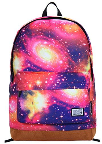 For Sale! Tinksky® Fashion Canvas Galaxy Universe Star Girl's Backpack Shoulders Bag (Purple Red)