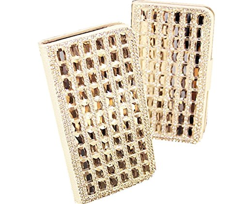 Vandot Accessory Sets 1X 3D Clear Crystal Transparent Rhinestone Leather Phone Case Cover For Apple Iphone 6 4.7 Inch Diamond Rhinestone Bling Leather Flip Case Wallet Case Cover Glitter Book Id Card Case Skin Shell Cell Phone Case - White Faux Leather Wi front-717858