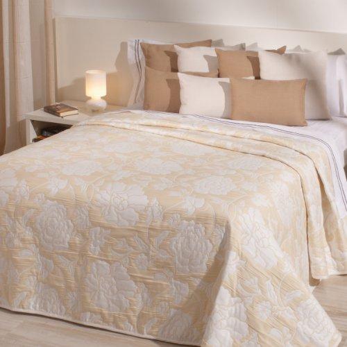 Sancarlos - Colcha reversible hamilton amarilla - doble tela reversible - bordado jacquard - esquinas redondeadas - varias tallas disponibles