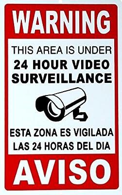 "1 Pc Paradisiacal Popular Security Signs Anti-Robber Video Surveillance Anti-Thief Size 7"" x 10"" Spanish English Language"