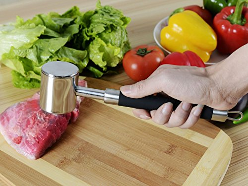 Stainless Steel Meat Hammer Pounder with Non Slip Silicone Handle for Pounding stainless steel silicone black - by LC Prime®