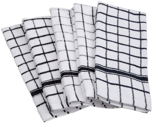 DII Cotton Terry Windowpane Dish Towels, 16 x 26 Set of 4, Machine Washable and Ultra Absorbent Kitchen Bar Towels-Black
