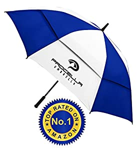 Procella Golf Umbrella 62-inch Large Double Canopy Windproof Auto Open FREE Videos (Royal Blue & White)
