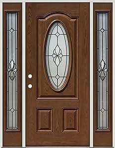 Fiberglass Front Door With Sidelites 3 4 Oval 16 Patina