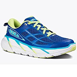 Hoka One One Women\'s W Clifton 2 True Blue/Sunny Lime Running Shoe 10 Women US