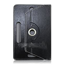 IndiSmack Rotating Book Cover Case cum Stand for 7 inch Tablets (Black)