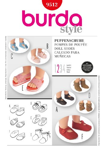 Burda 9512 Doll Shoes (6 Styles) Sewing Pattern front-1020323