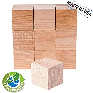 1 inch wood blocks 48 pack made in usa unfinished for Plain wooden blocks for crafts