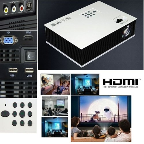 Aometech Multimedia Led Lcd Portable Full Hd Projector Hdmi Av Vga Port Usb - White 50'~120'Mini1500Lm Led Projector Cinema Theater, Support Pc Laptop Vga Input And Hdmi+Sd + Usb + Av Input For School Classrooms, Home Entertainment, Home Schooling, Sports