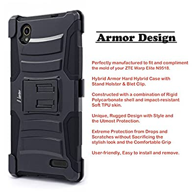 ZTE Warp Elite Case, Nagebee - High Impact Resistant Black Dual Layer Armor Holster With Locking Belt Clip Defender Full Body Protective Hybrid Armor Case Cover for ZTE Warp Elite N9518 from Nagebee