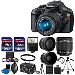 "Canon EOS Rebel T3 12.2 MP CMOS Digital SLR with 18-55mm IS II Lens and EOS HD Movie Mode + 58mm 2x Professional Lens +High Definition 58mm Wide Angle Lens + Auto Flash + Lightweight 50"" tripod +UV Filter Kit with 24GB Complete Deluxe Accessory Bundle"