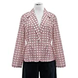 Anne Klein Off White Cotton Button Front Blazer Jacket With Red Embroidery