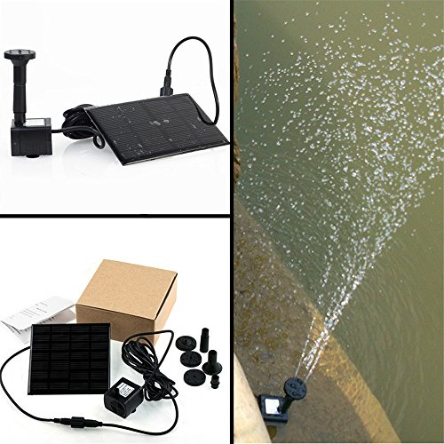 Lvjing® 1.2W Mini Floating Solar Power Fountain Brushless Water Pump for Garden Plants Pond Pool Bird Bath Fish Tank Waterscape (Black 2)