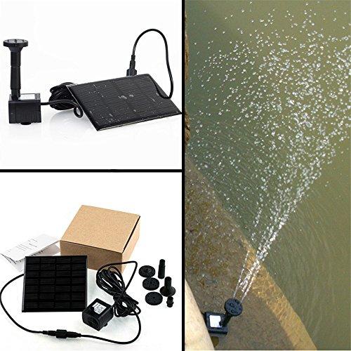 Lvjing® 1.2W Mini Floating Solar Power Fountain Brushless Water Pump for Garden Plants Pond Pool Bird Bath Fish Tank Waterscape (Black 2)