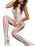 VillyDan Women's Sexy Lingerie Stylish Fishnet BodyStocking One Size (White)